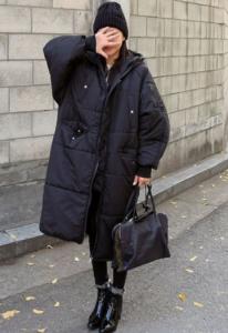 black puffy coat